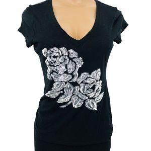 Express Sequin Flower Tee Shirt